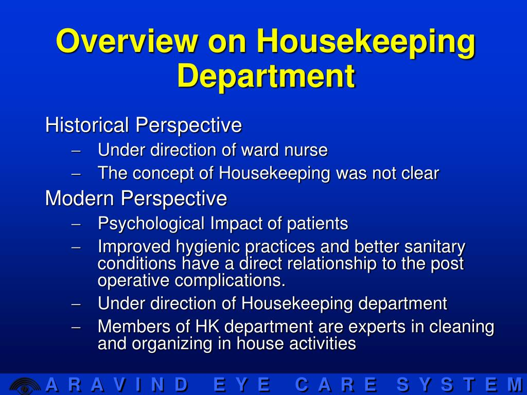 organizing housekeeping deparment Planning and organizing the housekeeping department 1 identifying  housekeeping's responsibilities • cleaning the following areas • guestroom •  corridors.