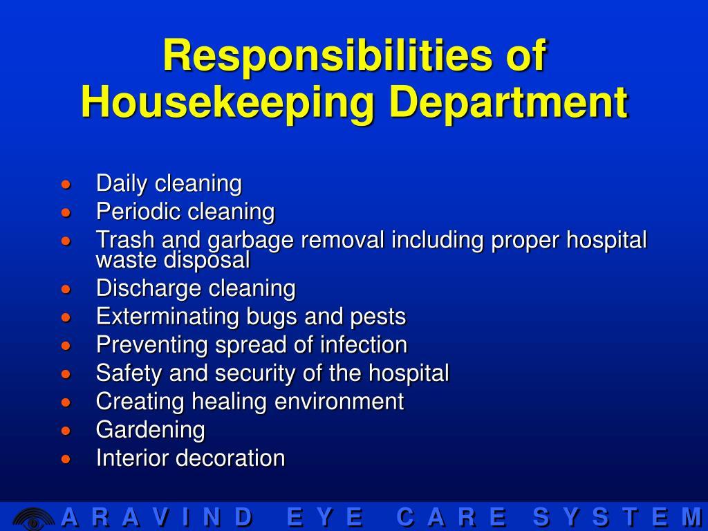 Responsibilities of Housekeeping Department