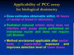 applicability of pcc assay for b iological d osimetry
