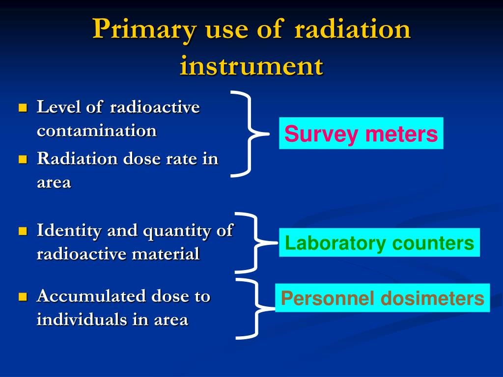 Level of radioactive contamination