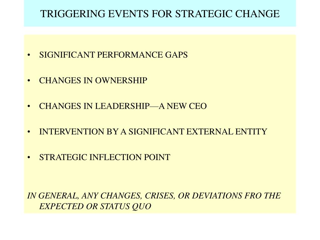 TRIGGERING EVENTS FOR STRATEGIC CHANGE