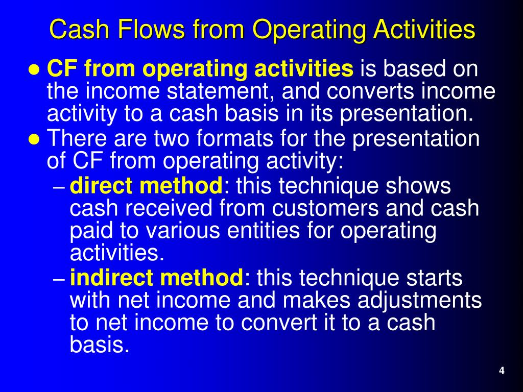 the methods of presenting cash flow from operating activities Or both methods of reporting operating statement an entity shall report cash from operating activities flows methods of presentation of cash flows.