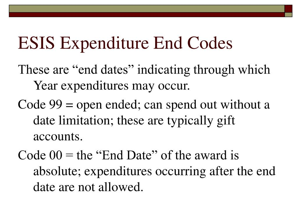 ESIS Expenditure End Codes