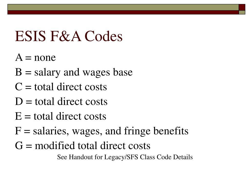 ESIS F&A Codes