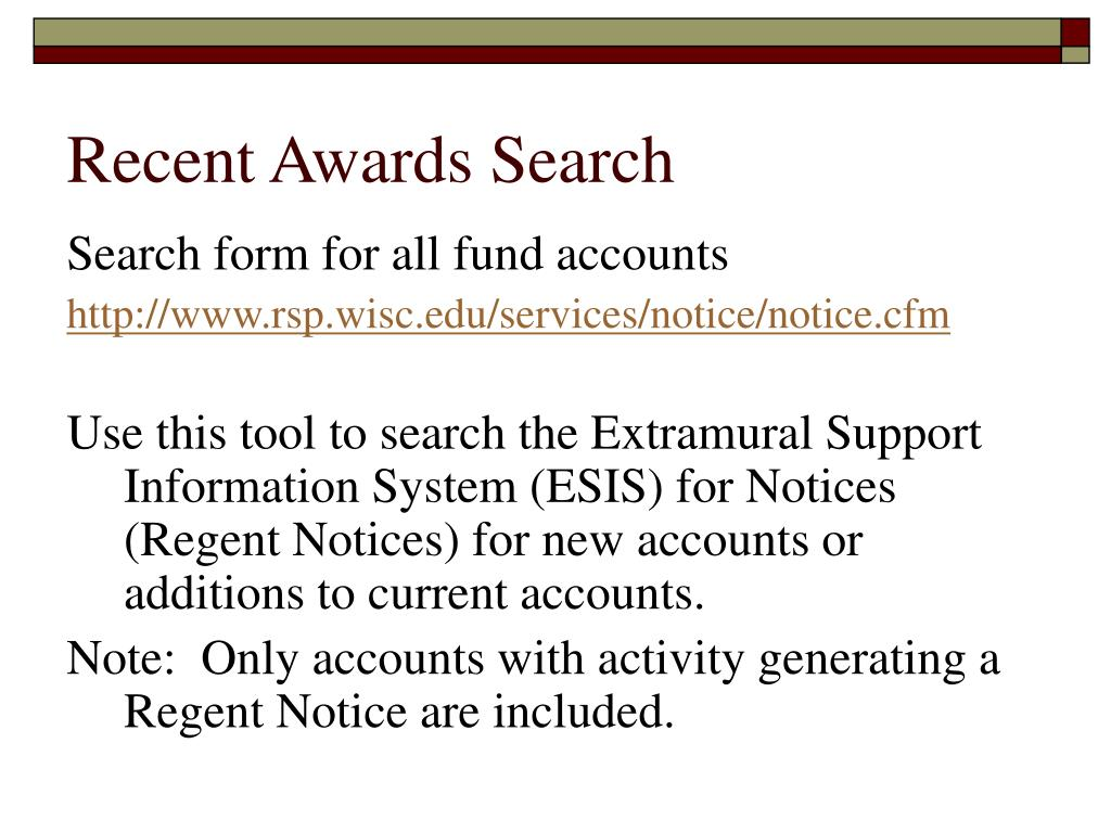 Recent Awards Search