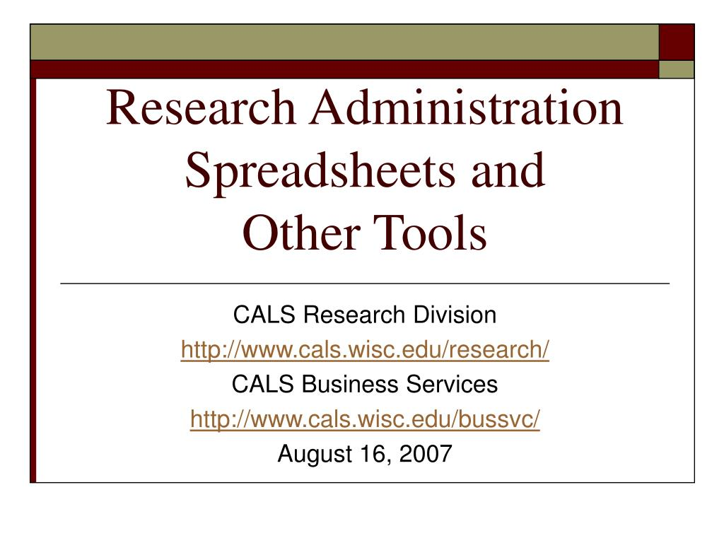 Research Administration Spreadsheets and