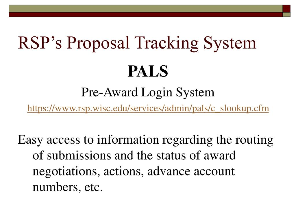 RSP's Proposal Tracking System