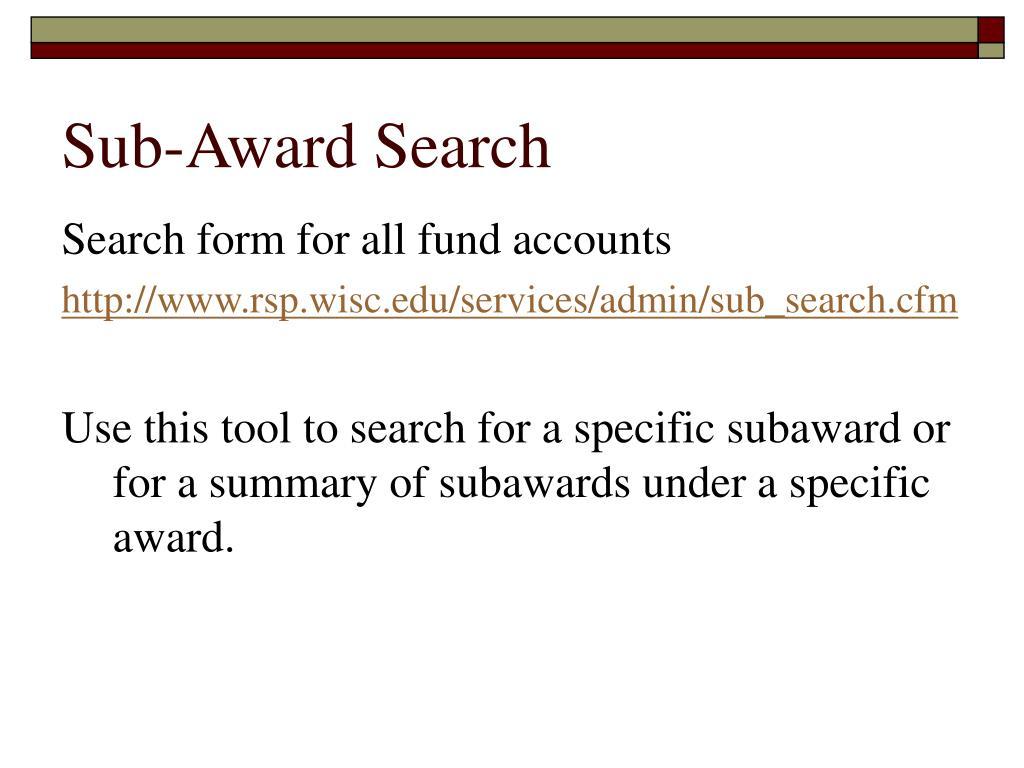 Sub-Award Search