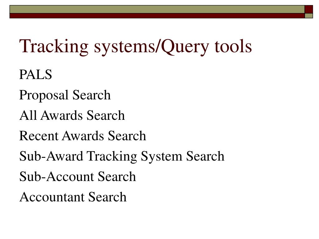 Tracking systems/Query tools
