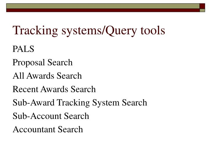 Tracking systems query tools