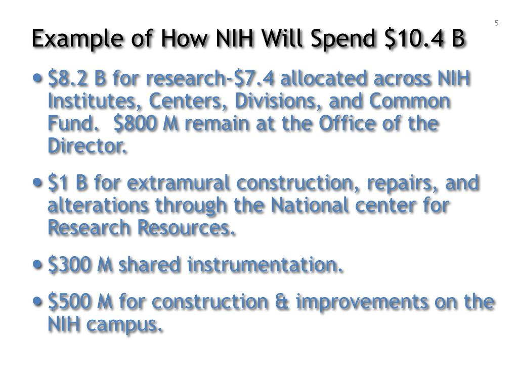Example of How NIH Will Spend $10.4 B