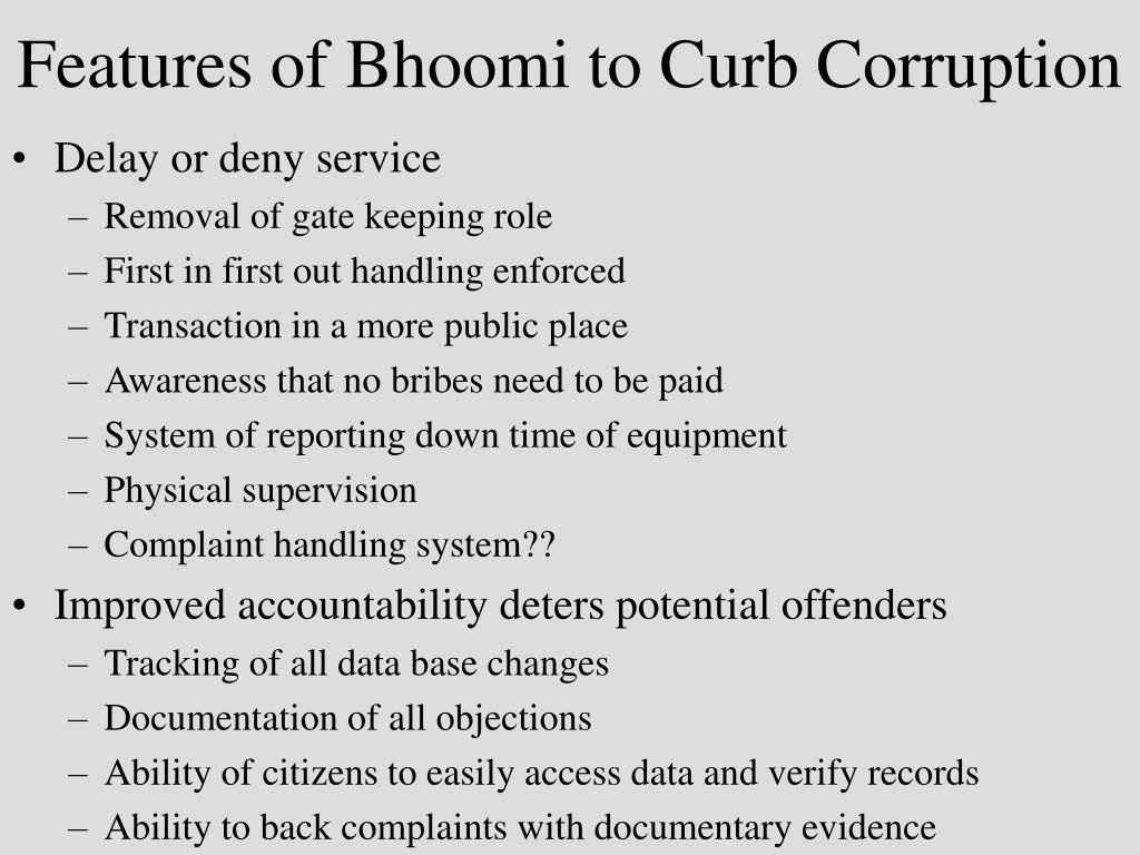 Features of Bhoomi to Curb Corruption