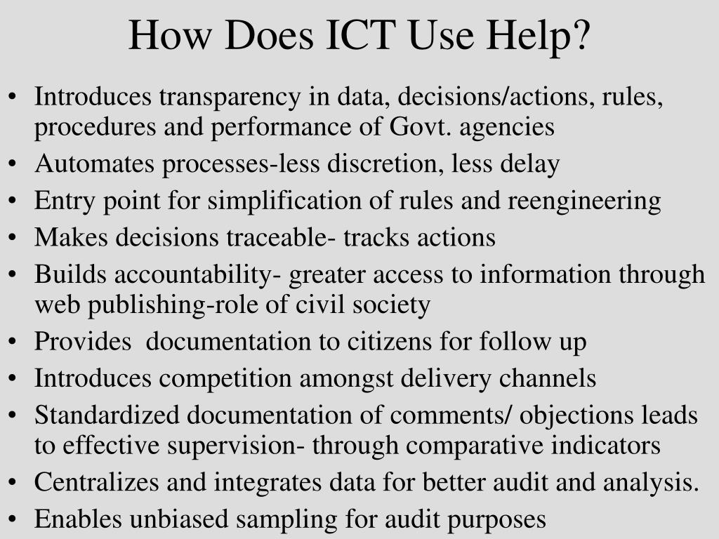 How Does ICT Use Help?