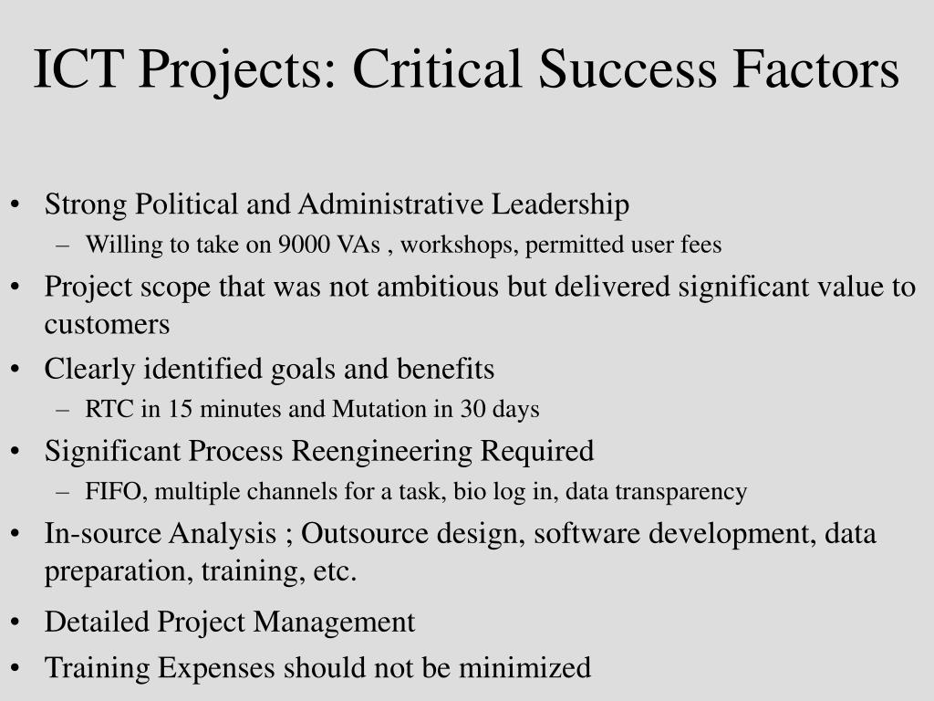 ICT Projects: Critical Success Factors