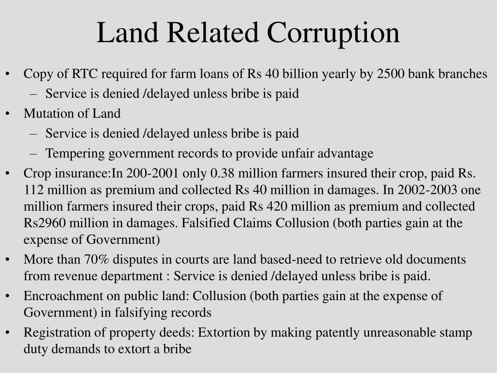Land Related Corruption