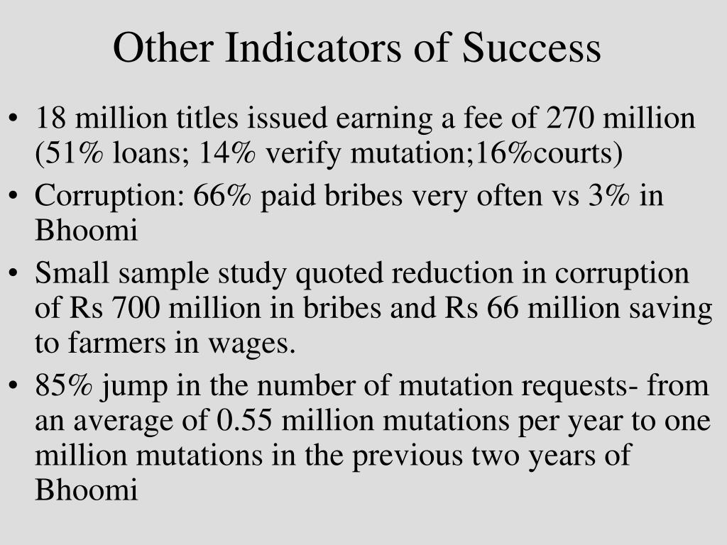 Other Indicators of Success