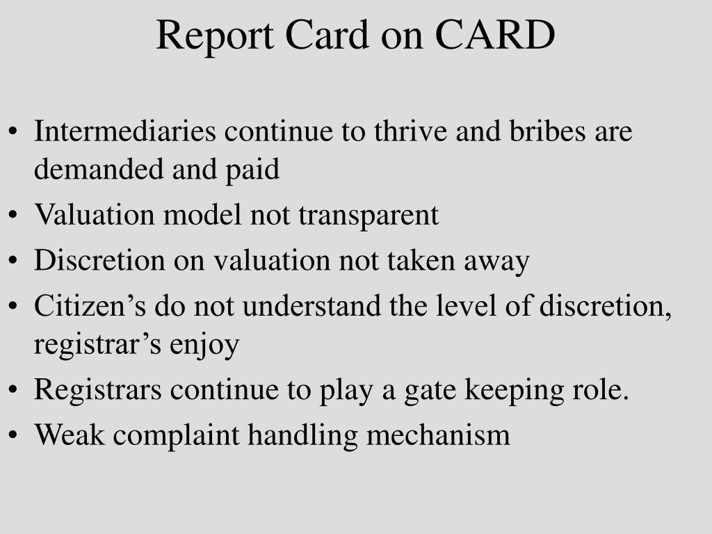 Report Card on CARD