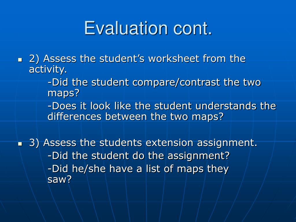 Evaluation cont.