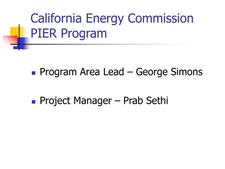 California energy commission pier program