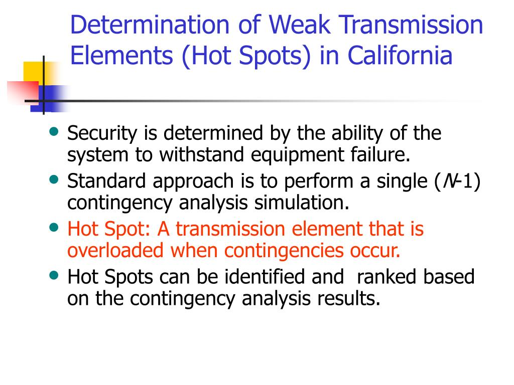 Determination of Weak Transmission Elements (Hot Spots) in California