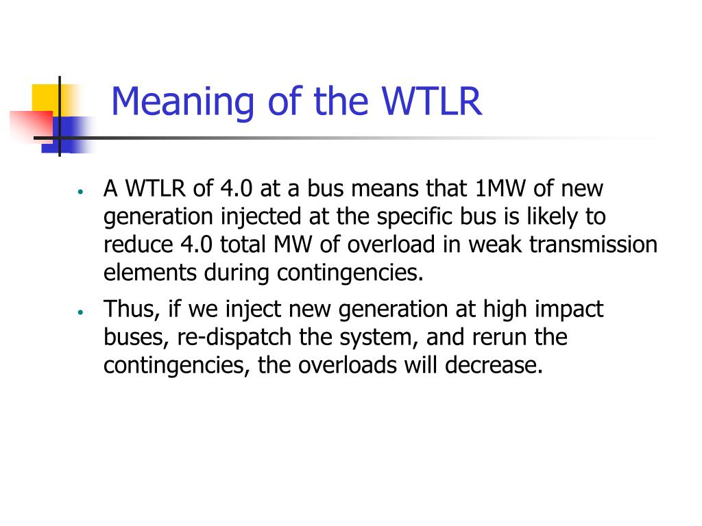 Meaning of the WTLR