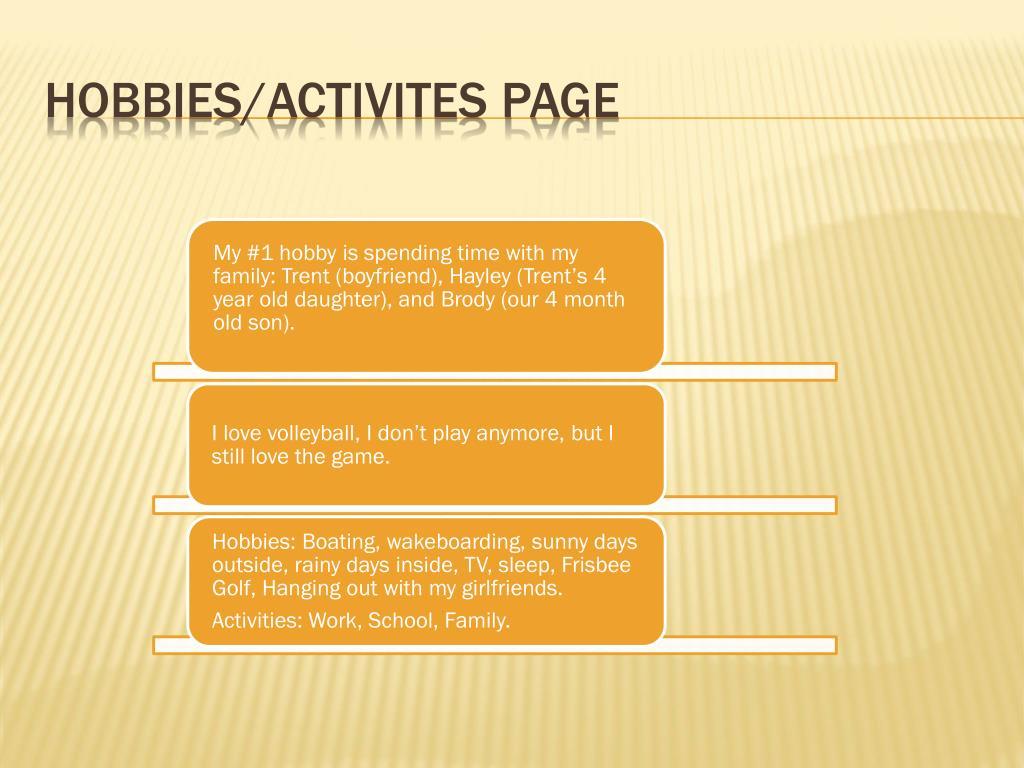 HOBBIES/ACTIVITES PAGE
