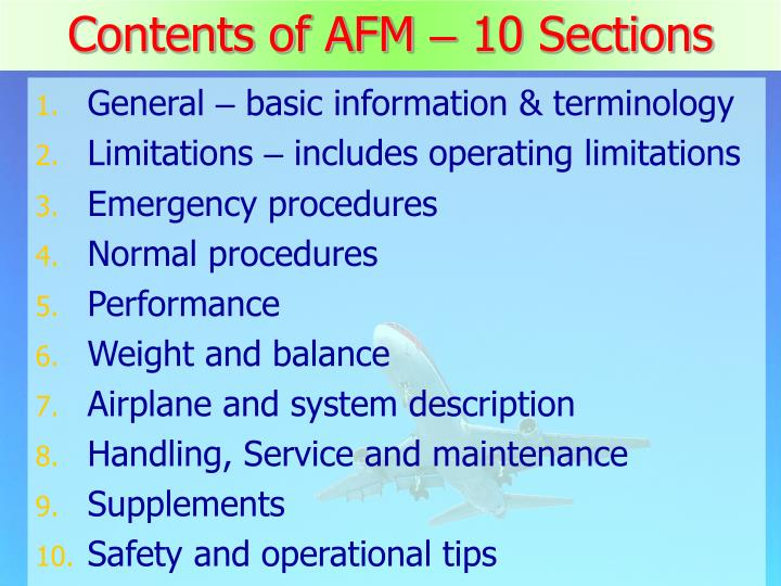 Contents of AFM