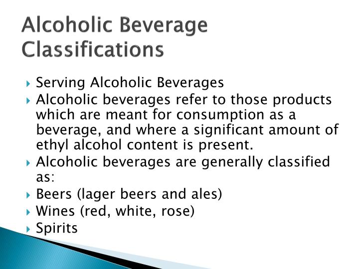 Alcoholic beverage classifications