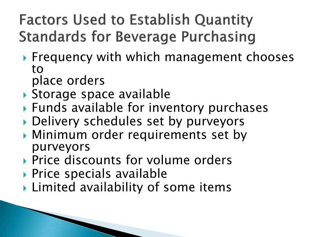 Factors Used to Establish Quantity Standards for Beverage Purchasing