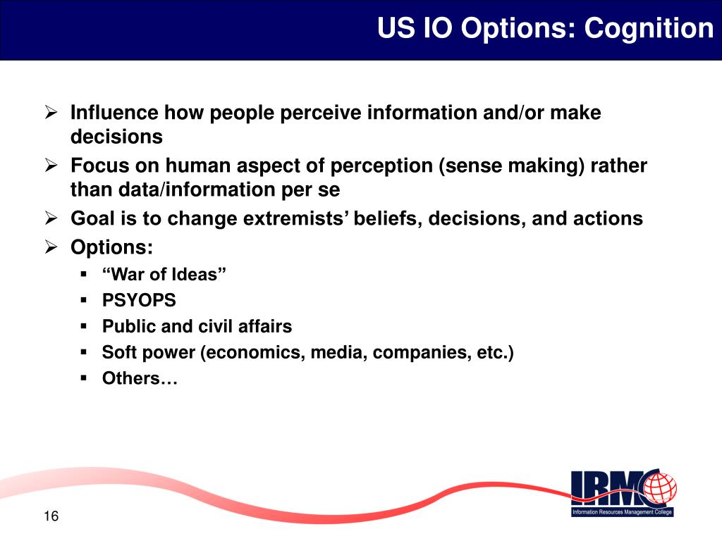 US IO Options: Cognition