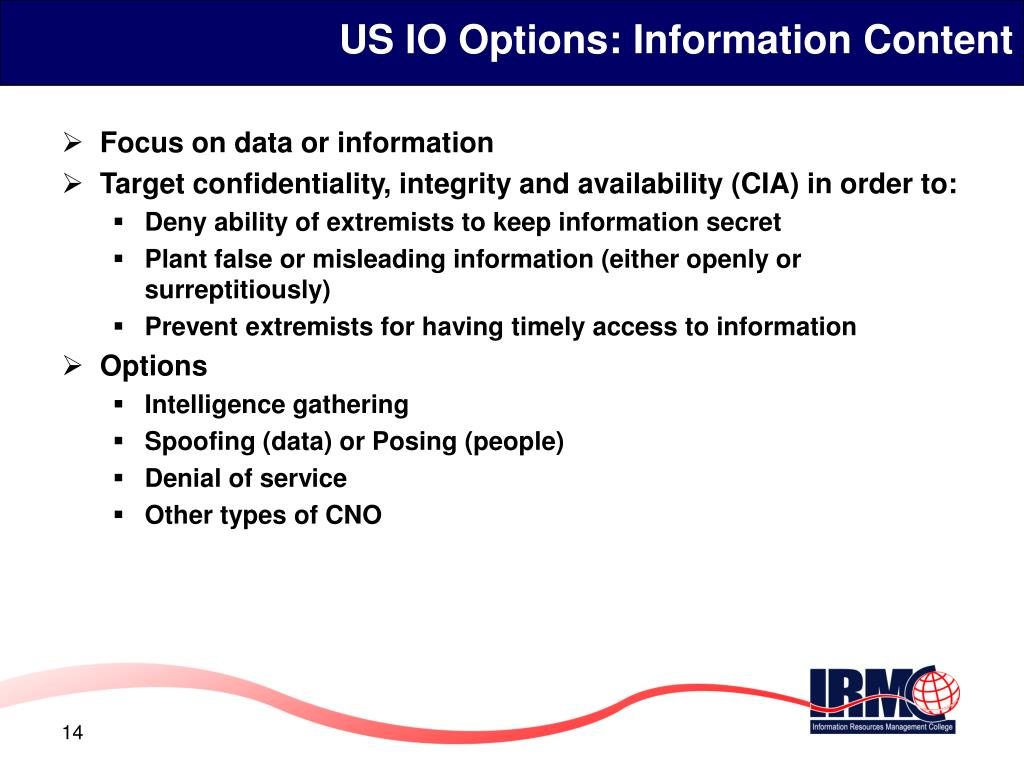 US IO Options: Information Content