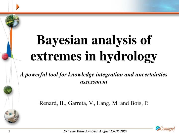 Bayesian analysis of extremes in hydrology