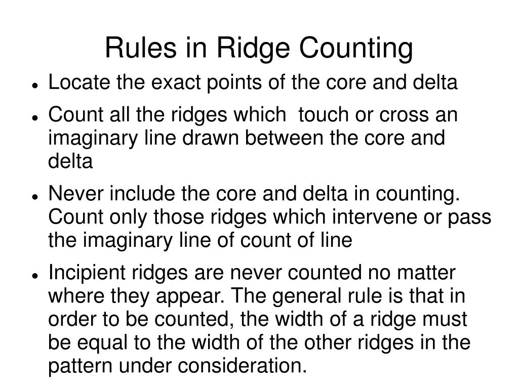 Rules in Ridge Counting