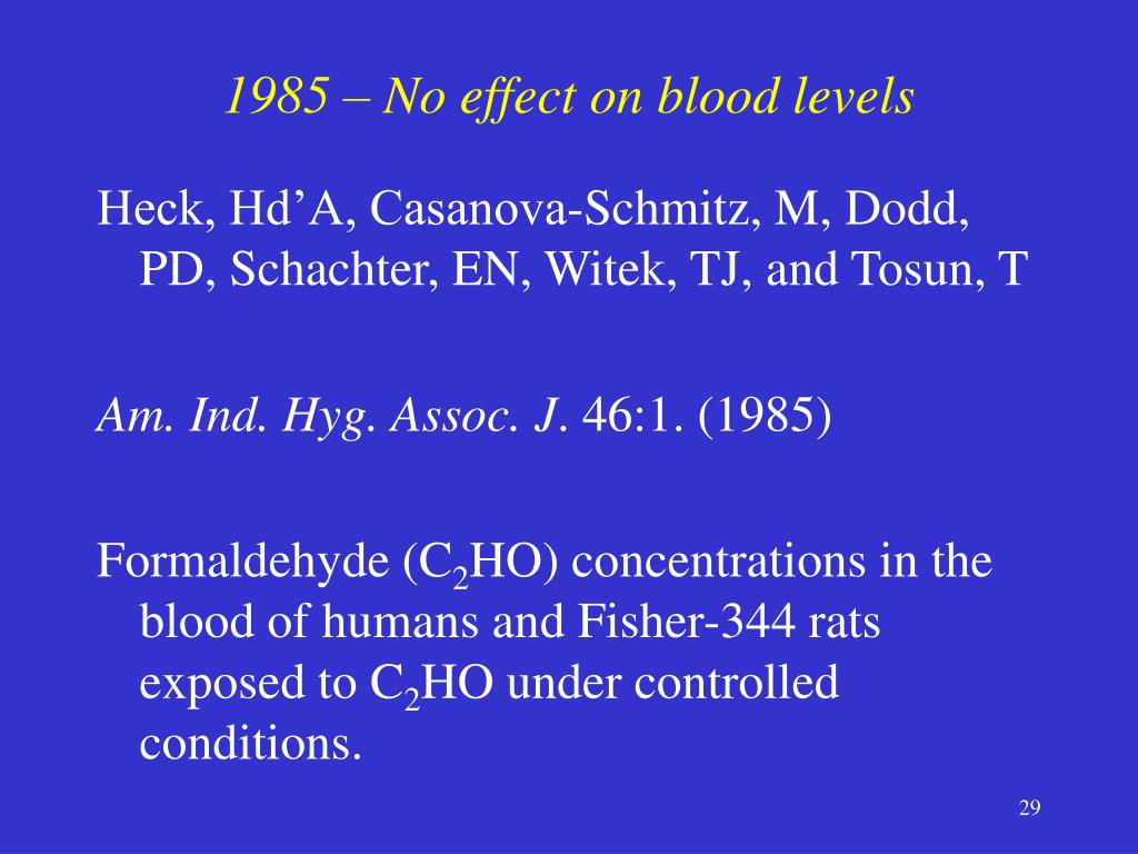 1985 – No effect on blood levels