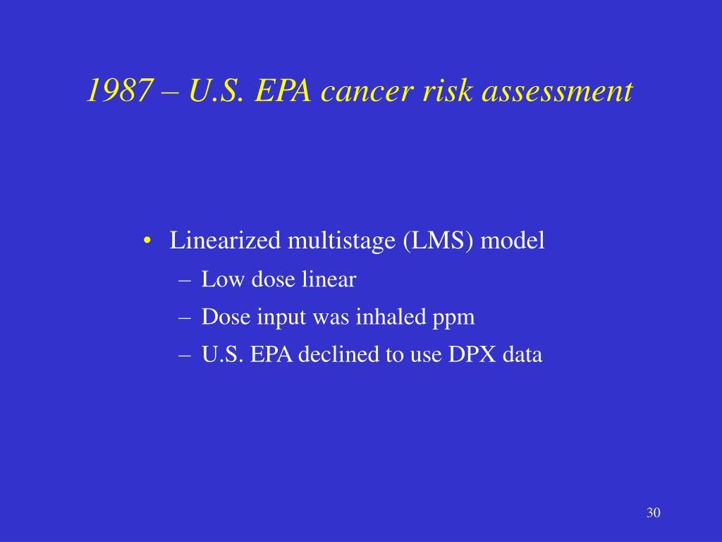 1987 – U.S. EPA cancer risk assessment