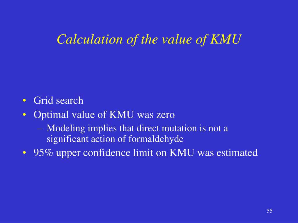 Calculation of the value of KMU