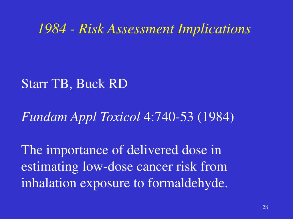 1984 - Risk Assessment Implications
