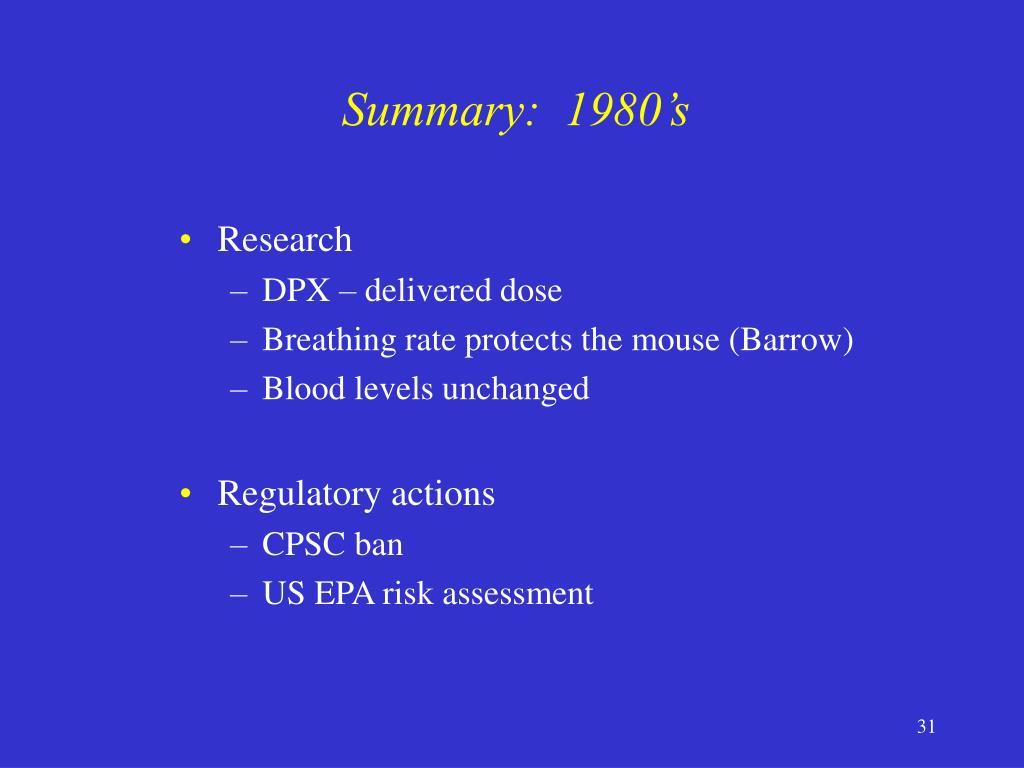 Summary:  1980's