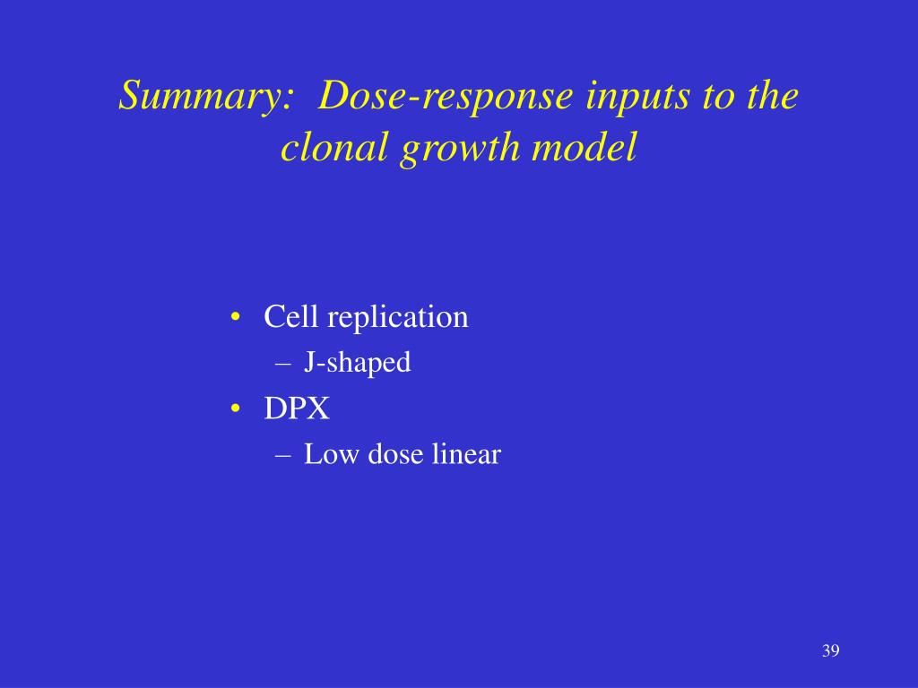 Summary:  Dose-response inputs to the clonal growth model