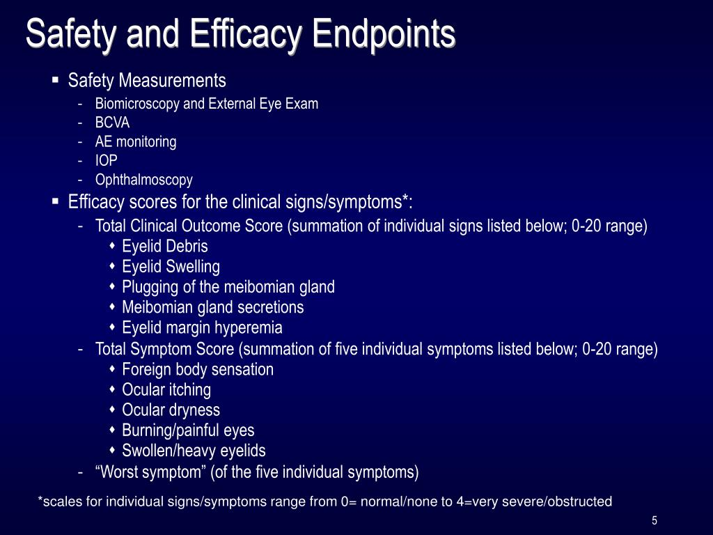 Safety and Efficacy Endpoints