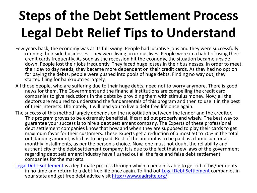 Steps of the Debt Settlement Process Legal Debt Relief Tips to Understand