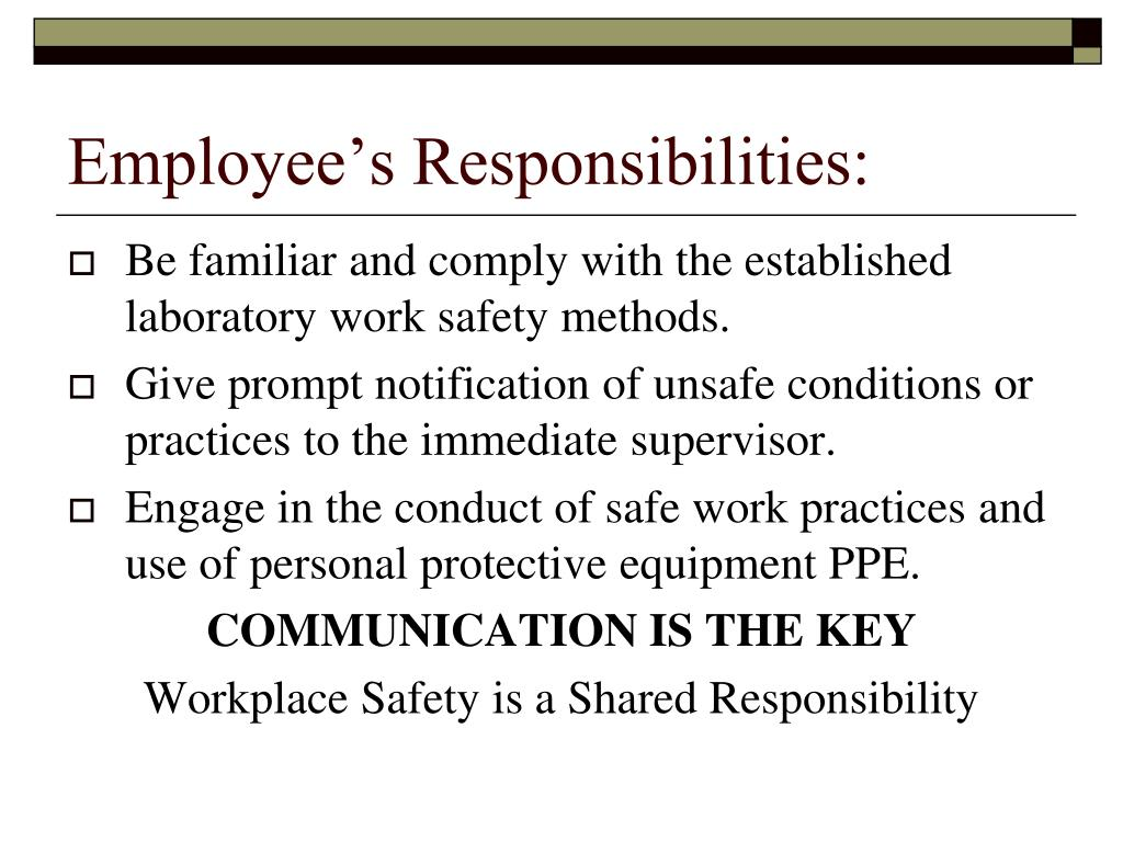 Employee's Responsibilities: