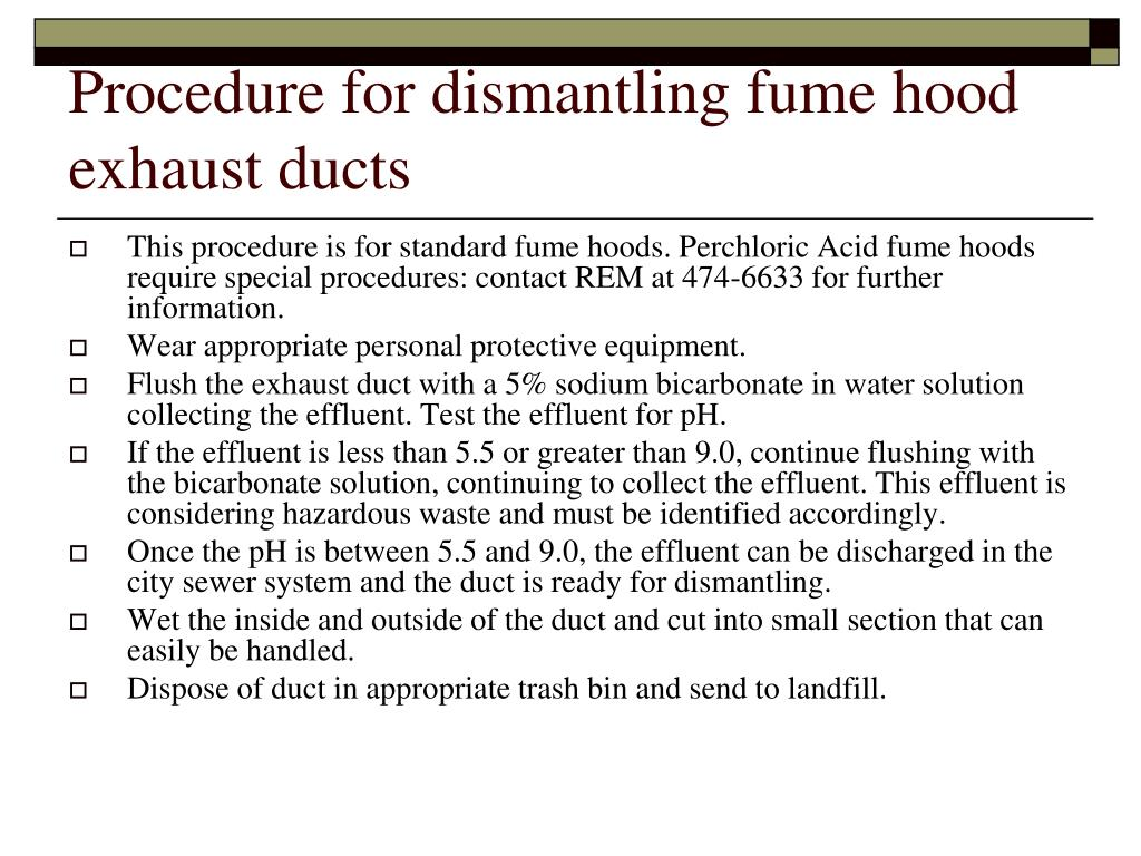 Procedure for dismantling fume hood exhaust ducts