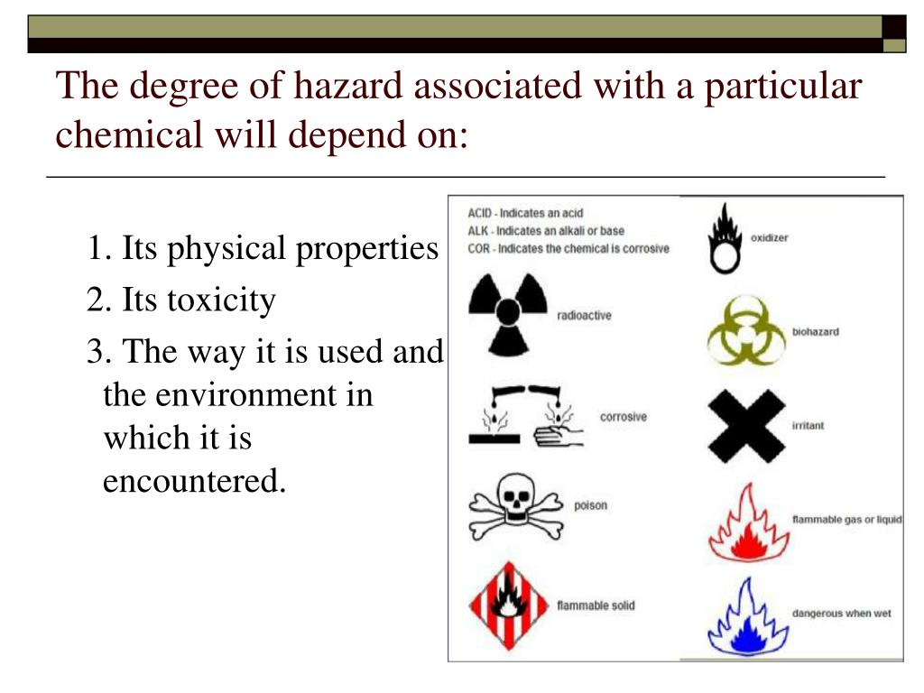 The degree of hazard associated with a particular chemical will depend on: