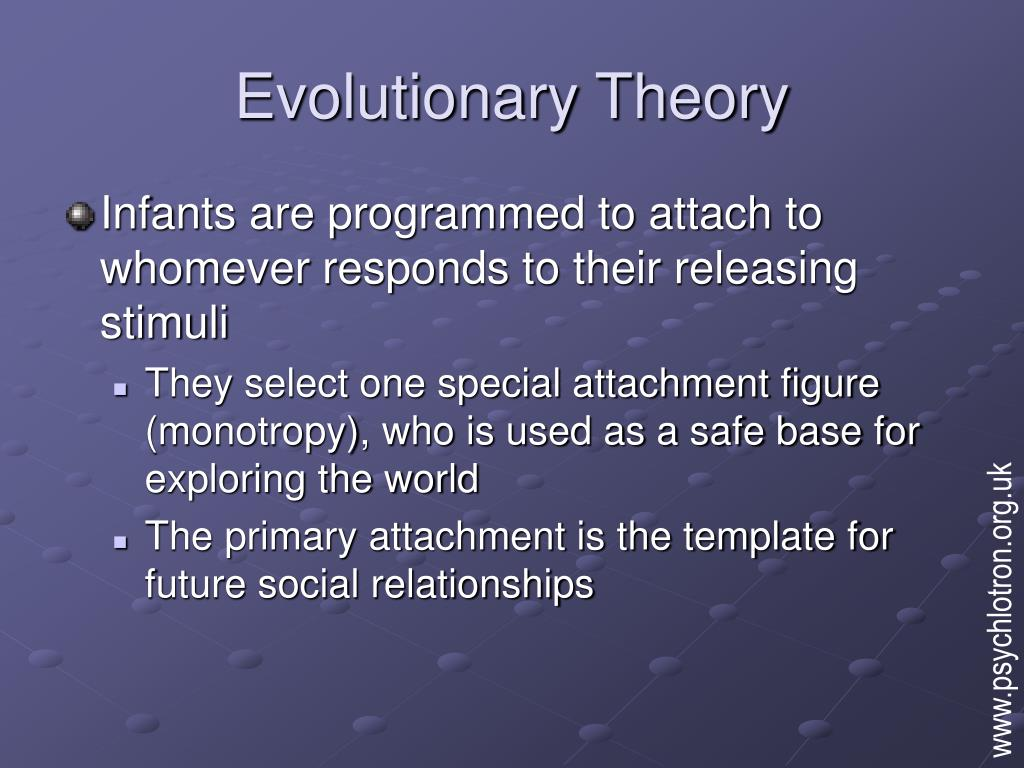 evolutionary theory of attachments Bowlby formulated the theory that an infant's attachment to its caregiver came about as an evolutionary bowlbys characteristics of attachment attachment theory.