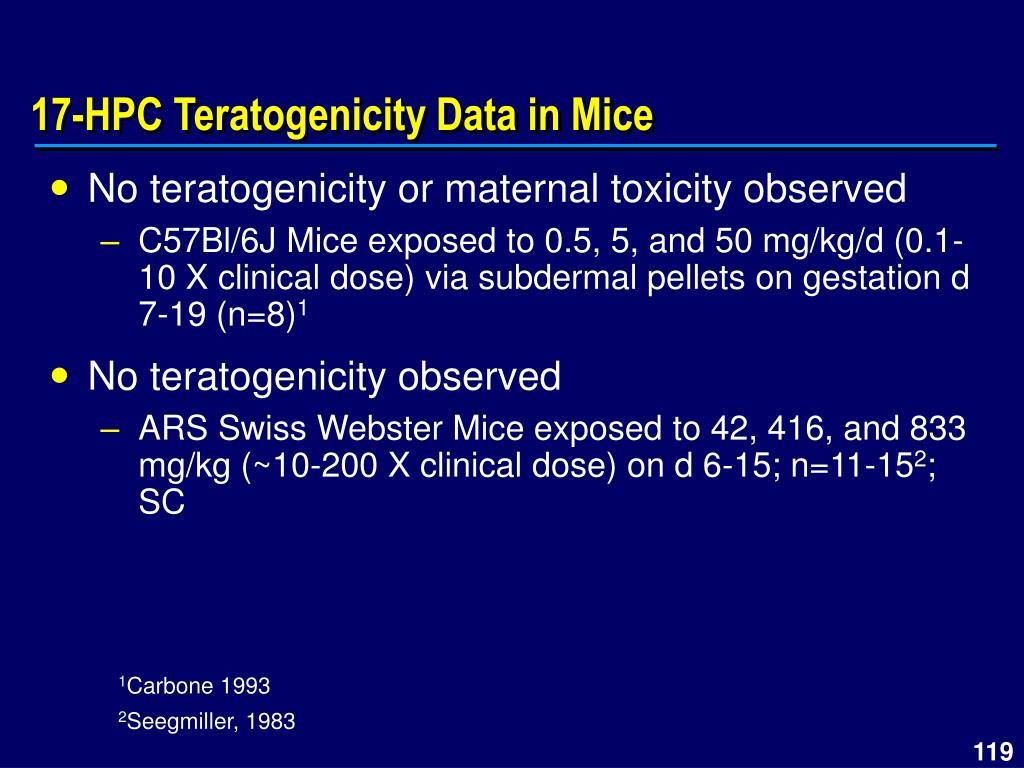 17-HPC Teratogenicity Data in Mice
