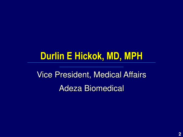 Durlin e hickok md mph