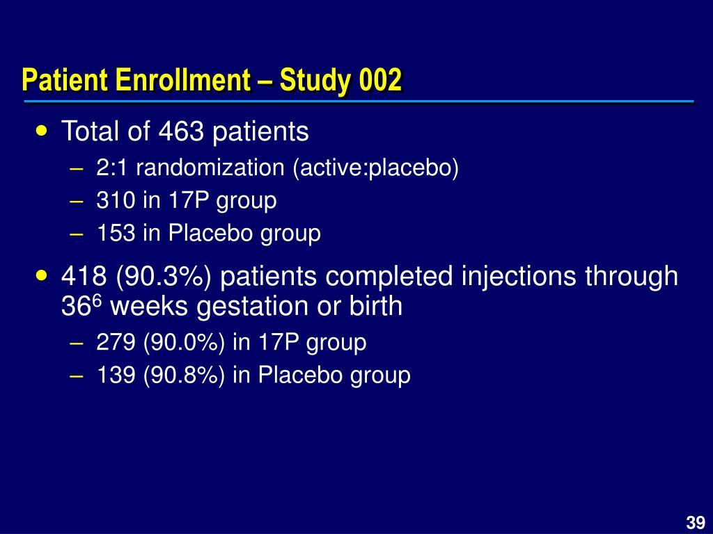 Patient Enrollment – Study 002