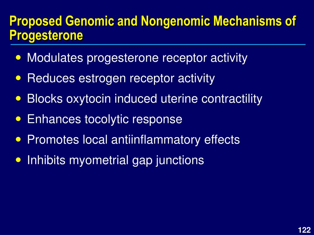 Proposed Genomic and Nongenomic Mechanisms of Progesterone