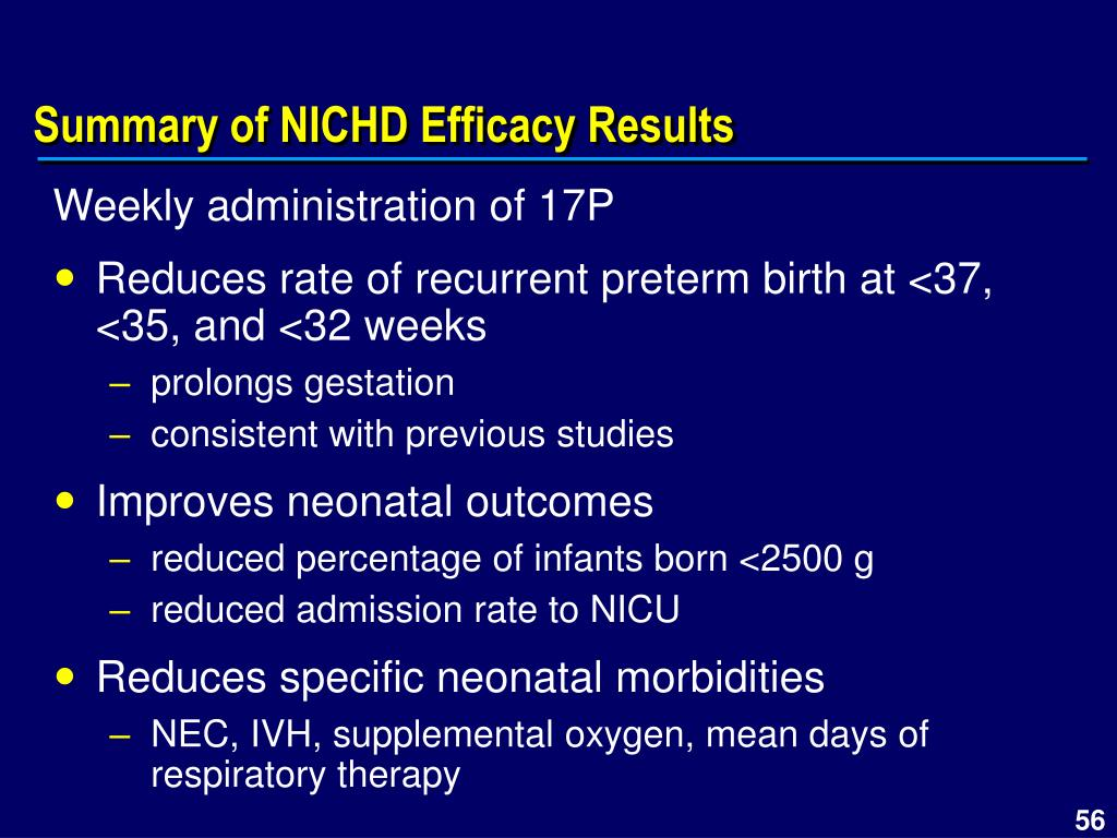 Summary of NICHD Efficacy Results